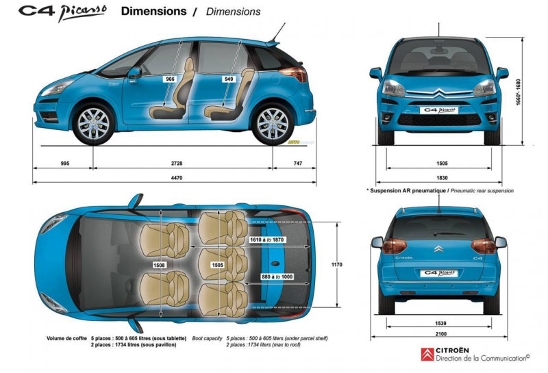 citroen c4 grand picasso dimensions